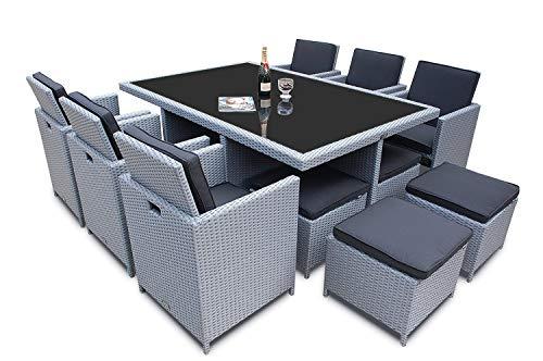 Ragnarök-Möbeldesign PolyRattan - DEUTSCHE Marke - EIGNENE Produktion - 8 Jahre GARANTIE auf UV-Beständigkeit Gartenmöbel Essgruppe Tisch + 6 Stühle & 4 Hocker...