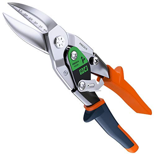 Presch Blechschere Rechts - Hochwertiges Trockenbau Werkzeug zum Blech Schneiden - Metallschere Rechtsschneidend Gebogen mit Hebelübersetzung - 250mm - Tin Snips