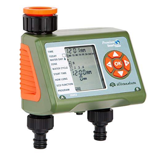 Ultranatura Doppel-Bewässerungscomputer mit LC-Display, ideal zur Blumenbewässerung, Rasenbewässerung etc, Bewässerungssteuerung mit Zwei Ausgängen und Vier...