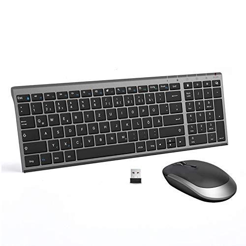 Jelly Comb Tastatur und Maus kabellos, 2.4Ghz Wireless Wiederaufladbare Tastatur Maus Set, Ultra Dünn QWERTZ Funktastatur für PC, Desktop, Notebook, Laptop,...