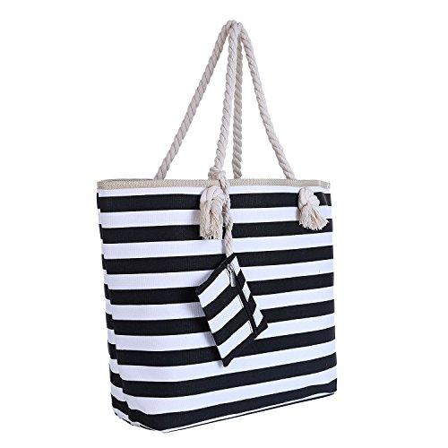 Große Strandtasche mit Reißverschluss 58 x 38 x 18 cm Maritime Streifen schwarz weiß Shopper Schultertasche Beach Bag