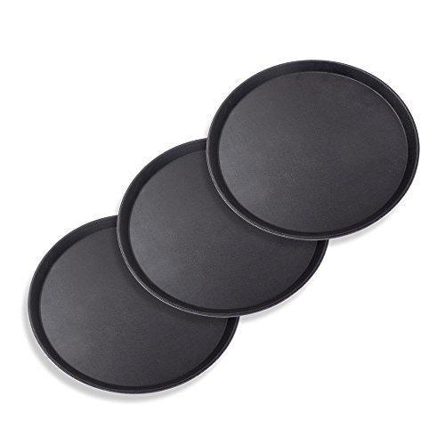 Schramm® 3 Stück Gastro Tablett 35x2cm rund schwarz 3er Pack mit Anti Rutsch Beschichtung hoher Rand Kellnertablett Kellner Gastro Tablett Tabletts Serviertablett...