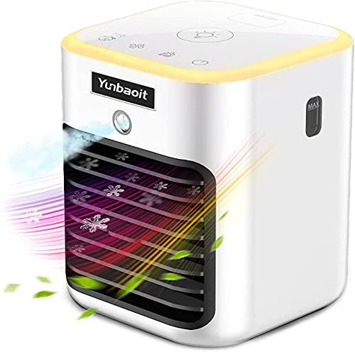 Mobiles Klimaanlage,Yunbaoit Mini Luftkühler,5 IN 1 Mobiles Klimagerät,Luftreinigender Kühlerlüfter mit LED-Licht,3 Timer und 3 Geschwindigkeiten,für Büro und...
