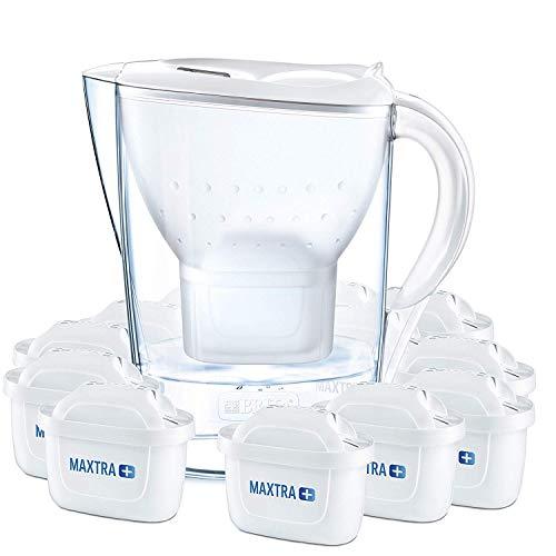 BRITA Wasserfilter Marella weiß inkl. 12 MAXTRA+ Filterkartuschen – BRITA Filter Jahrespaket zur Reduzierung von Kalk, Chlor & geschmacksstörenden Stoffen im...