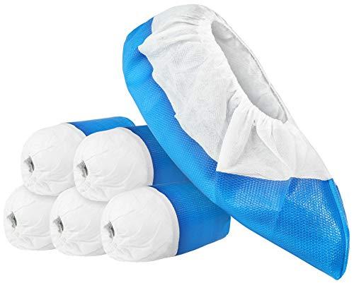 com-four® 50x Premium Mehrweg Überziehschuhe 11,9g je Überzieher - Plastik Schuhüberzieher mit Antirutsch-Sohle - Mehrweg-Schuh extra stark und wasserdicht -...