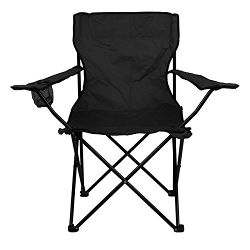 Nexos Angelstuhl Anglerstuhl Faltstuhl Campingstuhl Klappstuhl mit Armlehne und Getränkehalter praktisch robust leicht schwarz