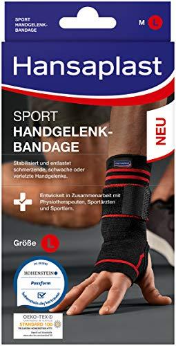 Hansaplast Sport Handgelenk-Bandage, Handgelenkstütze schont und unterstützt das Gelenk, Handgelenkschoner passend für das rechte und linke Handgelenk, Größe...