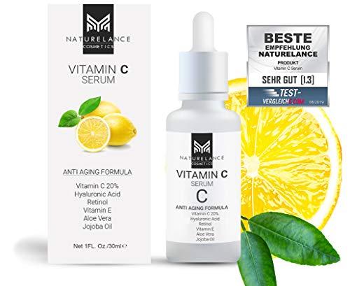 NATURELANCE COSMETICS Vitamin C Serum'Vergleichssieger' Bio, Vegan, hochdosiert mit Hyaluronsäure Anti-Aging, Aloe Vera, Vitamin E, Retinol, Anti Falten...