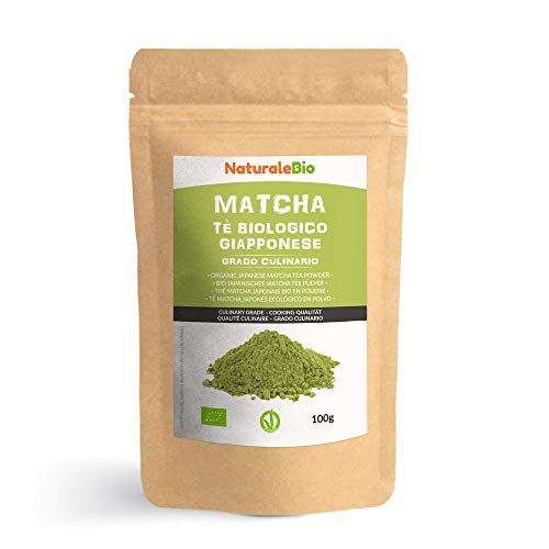 Matcha Tee Pulver Bio [ Cooking-Qualität ] 100 GR. Original Green Tea aus Japan. Japanischer Matcha Ideal zum Smoothies – Shakes - Latte. Tee hergestellt in Japan...