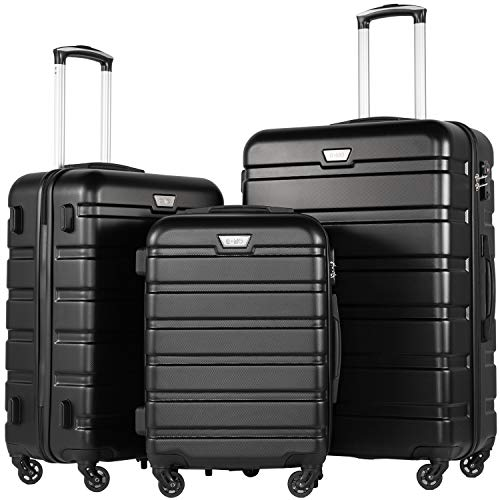 COOLIFE Hard Case Trolley Trolley Trolley with TSA Lock and 4 Castors (Black, Case Set)