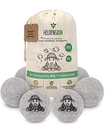 Heldengrün® Öko Trocknerbälle - 6er Set - [HOHE FILZDICHTE] - TÜV SÜD geprüft - Nachhaltige Produkte: 100% neuseeländische Schafwolle - Trocknerbälle für...