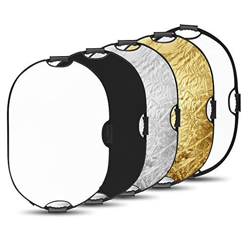 BDDFOTO 60 x 90cm 5-in-1 Oval Faltreflektor Set Tragebar Diffusor Gold, Silber, Weiß, Schwarz und Transparent Fotografie Reflektor mit Griff
