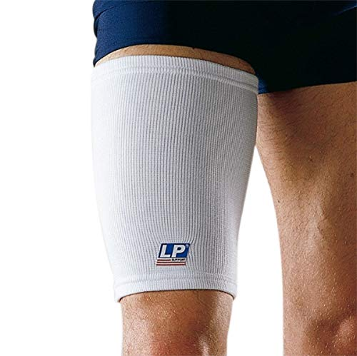LP Support 602 Oberschenkelbandage - Kompressionsbandage - Oberschenkelschutz, Größe:L, Farbe:weiss