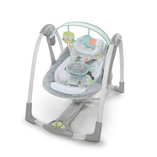 Ingenuity Hugs & Hoots zusammenklappbare und tragbare Babyschaukel mit 5 Schaukelgeschwindigkeiten, 8 Melodien, Lautstärkeregulierung und abnehmbarem...