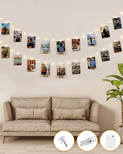 Fotowand für Zimmer Deko,kolpop Lichterkette mit Klammern für Fotos 5M 50LED Foto Lichterkette Batteriebetriebene Fotoclips Lichterkette für Wohnzimmer,...