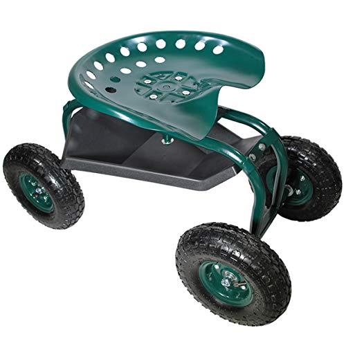 HELO Fahrbarer Gartensitz mit Rollen (bis 136 kg belastbar), Stahlgestell Garten Rollsitz mit ergonomischer Sitzfläche, 360° drehbar, höhenverstellbar, Profil...