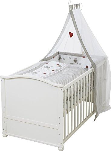 roba Komplettbett Set'Adam & Eule', Babybett weiß inkl. Bettwäsche, Himmel, Nest, Matratze, Kombi Kinderbett 70x140cm umbaubar zum Junior Bett