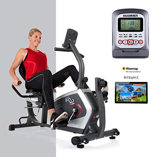 HAMMER CleverFold RC5 Liegeergometer, platzsparendes Fitnessfahrrad zum Klappen, Ergo-Bequemsitz mit Rückengesundlehne, Handpulssensoren, 19 Trainingsprogramme, 133...