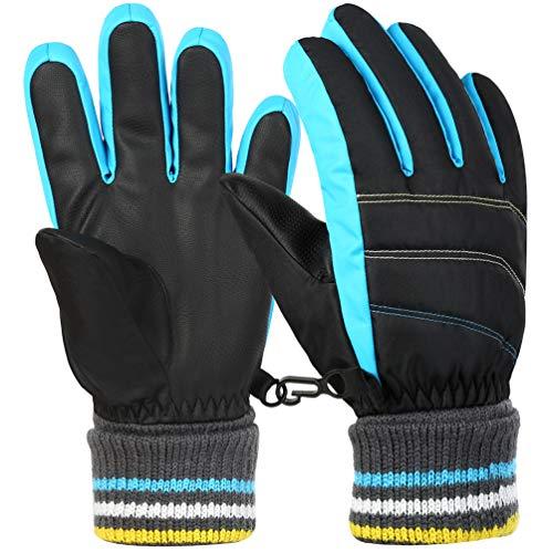 Vbiger Kinder Skihandschuhe Warme Winter Handschuhe Kalt Wetter Handschuhe Reißfeste Outdoor Sport Handschuhe mit extra langen Ärmeln Faltbare Manschette für...
