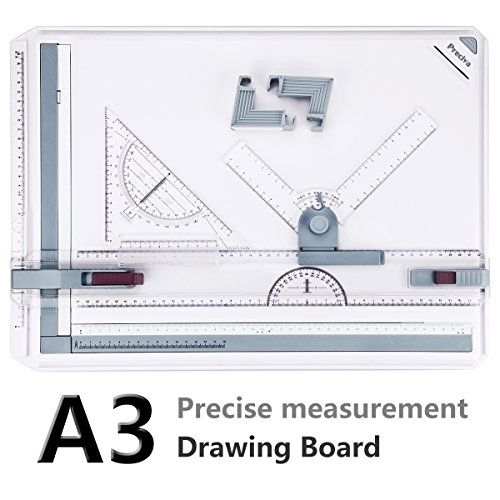 Preciva A3 drawing board DIN A3 drawing board drawing table with accessories 51 x 36,5 cm