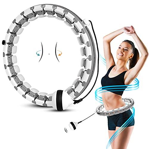 AZ GOGO Fitness Reifen Erwachsene Anfänger, 24 Artikulierte Hoop Smart Reifen mit Massagenoppen, Intelligent Hula Reifen für Kinder Erwachsene, zum Abnehmen,...