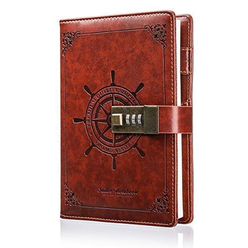 Notizbuch, MOHOO Tagebuch Password Notebook Vintage-PU-Leder-Tagebuch Password Diary Book Notizblock mit Zahlenschloss 224 seiten Vintage Notebook
