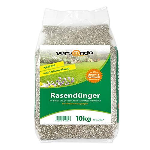 Frühjahrsdünger mit Langzeitwirkung versando Rasendünger 10kg für ca. 300m² sattgrünen Rasen, ganzjährig - ohne Moos und Unkraut, NPK-Dünger