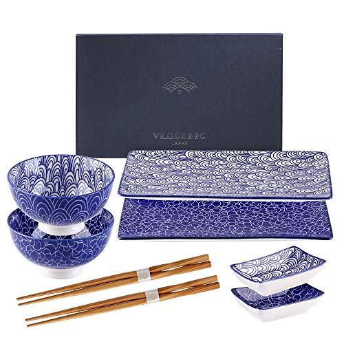 Vancasso Sushi Set, TAKAKI 8-teilig Sushi Teller Porzellan japanische ESS Service Geschirrset für 2 Personen, mit je 2 Sushi Teller, runden Schalen, rechteckigen...