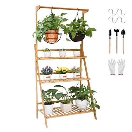 medla flower shelf Bamboo plant stairs for more plants and hanging baskets, foldable flower stand for indoor balcony living room outdoor garden decor, about 70 x 40 ...