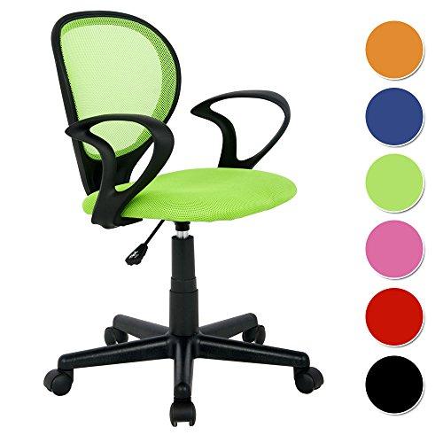 SixBros. Bürostuhl,Schreibtischstuhl, Drehstuhl für's Büro oder Kinderzimmer, stufenlos höhenverstellbar, Schreibtischstuhl für Kinder aus Stoff, grün,...