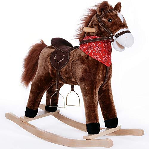 Deuba Schaukelpferd | Sound Effekte | mit Sattel, Zaumzeug und Steigbügel | Schaukeltier Plüsch Schaukel Wippe Pferd Kinder Baby Spielzeug