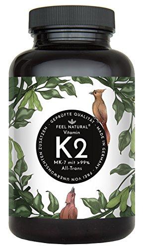 Vitamin K2 MK7-365 Kapseln. Hochdosiert mit 200µg (mcg) je Kapsel. 99% All-Trans, aus Fermentation. Aktionspreis. Laborgeprüft, ohne Zusätze wie...