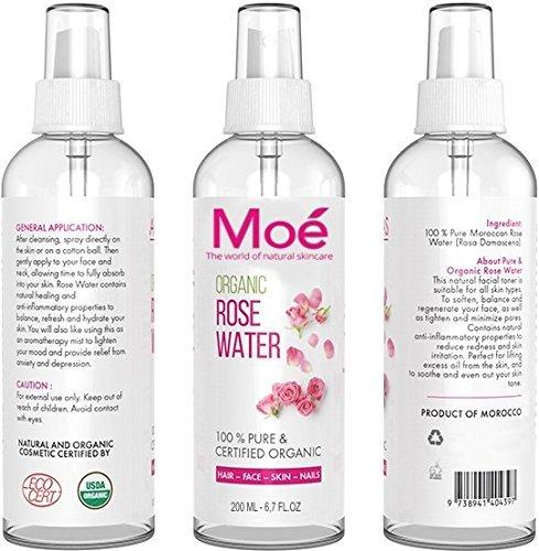 Moé - 200ml Bio Rosenwasser, 100% Reines Naturprodukt ohne Alkohol und Konservierungsstoffe. Rose Water Organic Vegan Moe