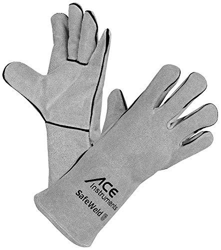 ACE SafeWeld Schweißerhandschuhe - Lange Leder-Schutz-Handschuhe für Schweißer - EN 388/12477 - Weiß/Grau - 10/L