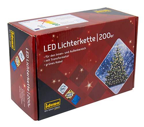 Idena 8325066 - LED Lichterkette mit 200 LED in warm weiß, mit 8 Stunden Timer Funktion, Innen und Außenbereich, für Partys, Weihnachten, Deko, Hochzeit, als...