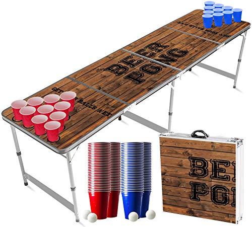 Offizieller Old School Beer Pong Tisch Set | Full Beer Pong Pack | Inkl. 1 Beer Pong Tisch + 120 53cl Becher (60 Rot & 60 Blau) + 6 Ping-Pong-Bälle | Premium...