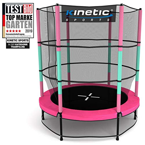 Kinetic Sports Trampoline Kids Indoor Trampoline Jumper 140 CM Edge Cover Poles Padded, Rubber Rope Suspension Safety Net Pink