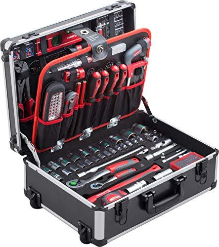 Meister Werkzeugtrolley 156-teilig - Werkzeug-Set - Mit Rollen - Teleskophandgriff / Profi Werkzeugkoffer befüllt / Werkzeugkiste fahrbar auf Rollen / Werkzeugbox...