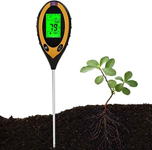 RCYAGO Bodentester 4 in 1 Erde Feuchtigkeit Meter Bodentester PH Wert Boden Temperatur und Sonnenlicht Intensität Tester für Den Garten Landwirtschaft Indoor...