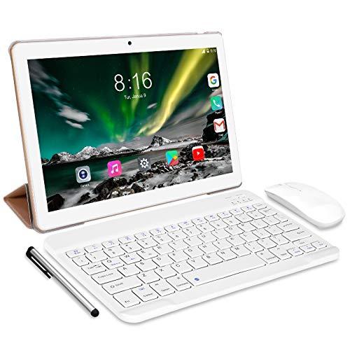 Tablet Android 10.0 - TOSCIDO Tablets 10 Zoll 4 GB/RAM,64 GB/ROM Tablet PC,5000mAh Akku,Dual SIM,WiFi Unterstützung Bluetooth Tastatur |Maus|X109 Tablet Cover und...