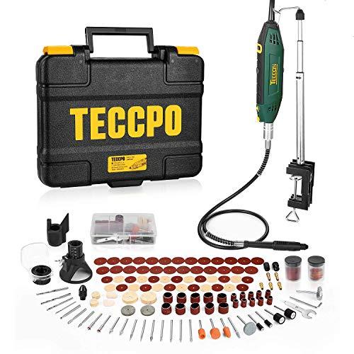 Multifunktionswerkzeug, TECCPO 200W Drehwerkzeug mit Teleskoparm und Tischklemme, mit 120 Zubehör, Mini-Bohrer mit 5+Max Variablen Drehzahlen, Ideal für DIY...