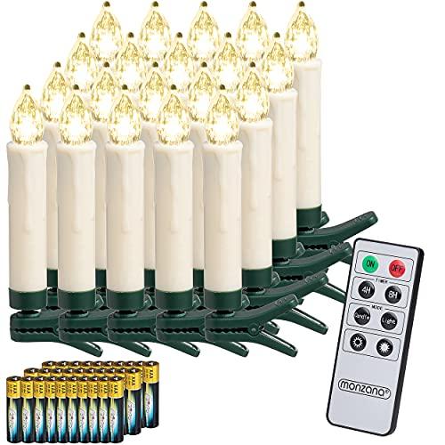Deuba 20x Weihnachtskerzen LED weiß kabellos mit Batterie Fernbedienung Timer Flackern Dimmbar Christbaumkerzen kabellos