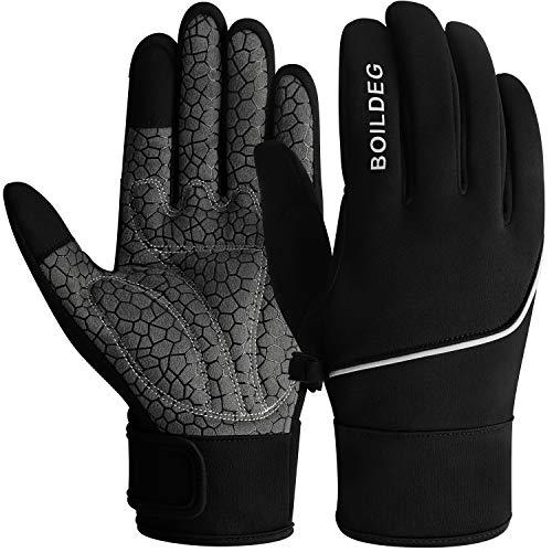 boildeg Fahrradhandschuhe Radsporthandschuhe rutschfeste und Stoßdämpfende Mountainbike Handschuhe mit Signalfarbe geeiget Unisex Herren Damen (Black, L)