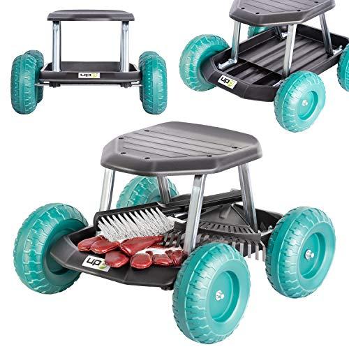 UPP Gartenwagen Rollsitz bis 130 kg mit Ablage für kleine Gartengeräte | Sitzhöhe 33 cm | Knie- und rückenschonend bei Beet Arbeiten im Garten oder bei der Auto...