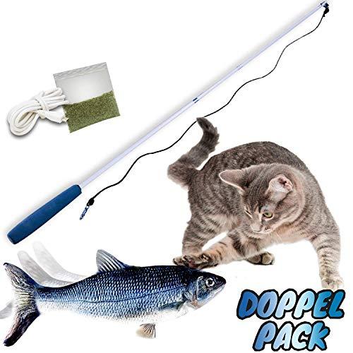 Mediashop Flippity Fish - 2 Stück – elektrisches Katzenspielzeug – Katzenminze - wiederaufladbar mit USB Kabel - Verschiedene Geschwindigkeitsstufen, mit...