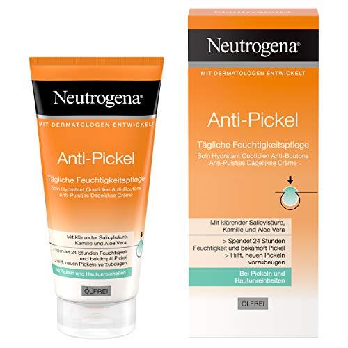 Neutrogena Anti-Pickel Tägliche Feuchtigkeitspflege, ölfreie Feuchtigkeitscreme mit klärender Salicylsäure, Kamille und Aloe Vera (1 x 50 ml)
