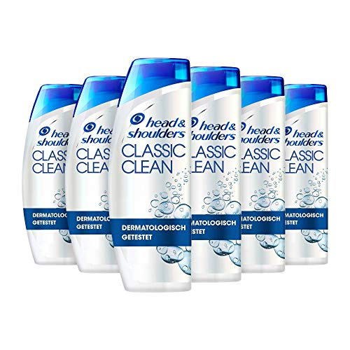 Head & Shoulders Classic Clean Anti Schuppen Shampoo, 6er Pack (6 x 300 ml), Shampoo gegen Schuppen, Juckreiz, Trockene Kopfhaut, Shampoo Herren, Haarpflege, Bis Zu...