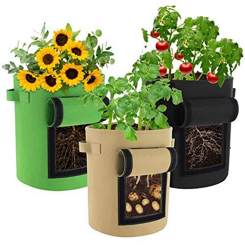 JOYUE Pflanzsack, Pflanzen Tasche, Kartoffelsack aus Filzstoff, Pflanzbeutel mit Sichtfenster und Griffen, Wiederverwendbar Pflanztaschen für Kartoffeln, Blumen,...