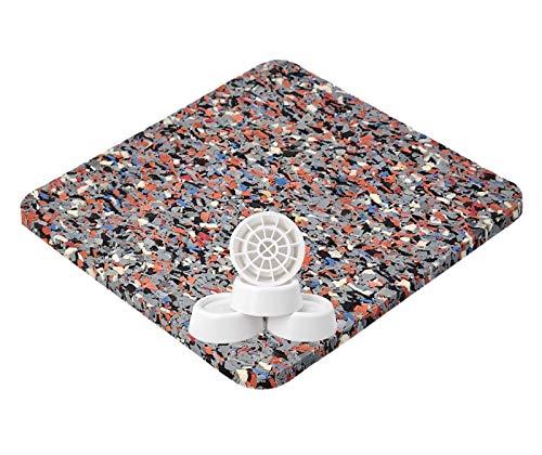 Antivibrationsmatte für Waschmaschine oder Trockner, Antirutschmatte - 62x60x0,6 cm + Vibrationsdämpfer 4er Set