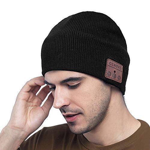 MEckily Bluetooth Mütze Männer Geschenke, Bluetooth 5.0 Drahtlose Beanie mit Abnehmbarem Eingebautem Mikrofon für Freisprechanruf, Skifahren, Laufen,...